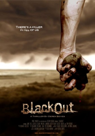 Blackout Poster - an arm holding a stone