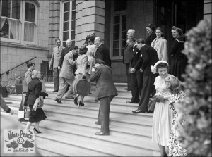 Cast members arriving at the Metropole Hotel Folkestone for the filming of Lady Godiva Rides Again July 1951