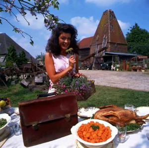 Catherine Zeta Jones as Mariette with Oast House in the background © ITV