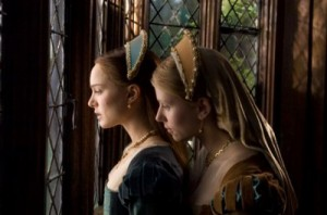 Scarlett Johansson and Natalie Portman as Mary and Anne Boleyn looking out of a window