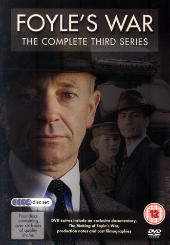 Text at the top reads Foyle's War The complete third series. On the right hand side there is a close op of Foyle's (Micheal Kitchen's) face and behind him on the left hand side is Sam (Honeysuckle Weeks) and Sergant Milner (Anthony Howell) in theri uniforms.