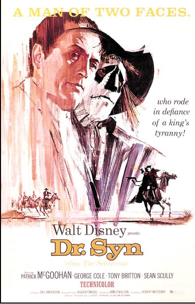 Film Poster for Dr Syn. White Background with two large figures of Patrick McGoohan on the left half, one of him as the viacr and the other as the Scarecrow. Blended into the bottom of the poster is him riding his horse whilst being chased by the Kings Men.