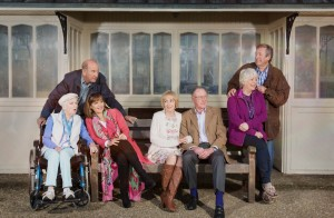 The Boomers cast sitting on a bench - Joan (JUNE WHITFIELD), John (RUSS ABBOT), Maureen (STEPHANIE BEACHAM), Carol (PAULA WILCOX), Trevor (JAMES SMITH), Joyce (ALISON STEADMAN), Alan (PHILIP JACKSON) C BBCHattrickJack Barnes