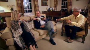 Steph and Dom enjoying drinks with Nigel Farage