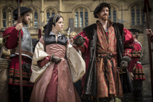 Claire Foy as Anne Boleyn and Damian Lewis as King Henry Eighth on the Wolf Hall set