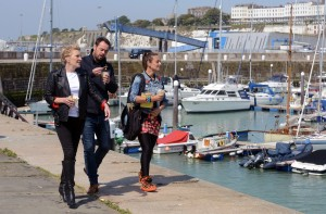 Shirley Carter (LINDA HENRY), Mick Carter DANNY DYER, Tina Carter (LUISA BRADSHAW WHITE) walking in Ramsgate Harbour