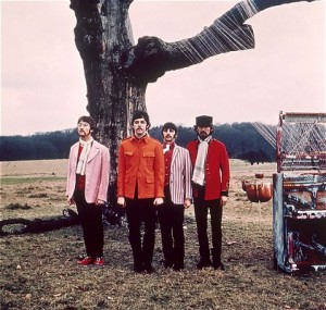 The Beatles Strawberry Fields Forever - the band standing in front of a tree