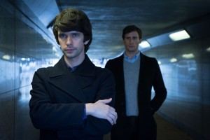 Danny (BEN WHISHAW), Alex (EDWARD HOLCROFT) standing in a tunnel