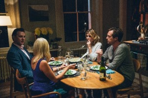 Jon (David Morrissey), Teresa (Laura Birn), Kate (Clémence Poésy) and Justin (Stephen Campbell Moore) at a dinner table