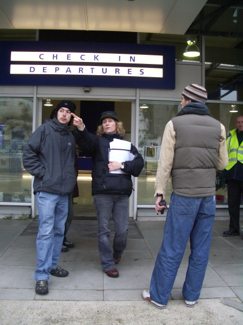 Director Jan Dunn and Gypo Crew at Ramsgate Harbour in front of the check in departures entrance.