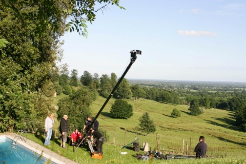 Filming with views over the Weald, swimming pool in the left hand corner