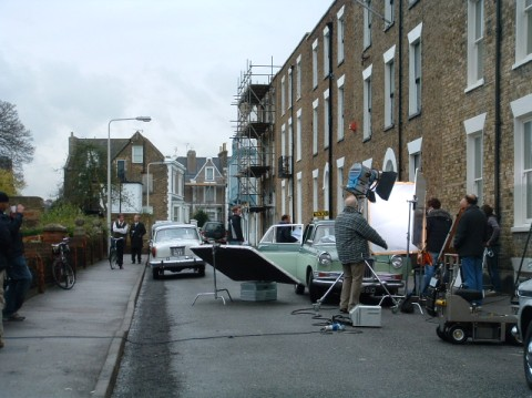 On set of Hancock and Joan - cameras in a residential street