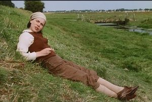Royal Military Canal screenshot -Flora (Kate Beckinsale) lying on the grass by the canal