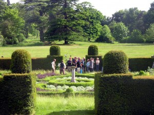 Cast and crew filming outside at Cobham Hall gardens- fields and gardens can be seen in the background