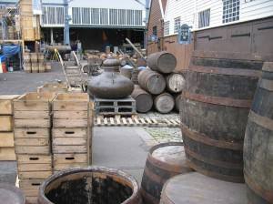 Behind the scenes image at The Historic Dockyard, Chatham with props barrels and crates
