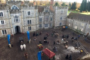 Filming of The Other Boleyn Girl at Knole- courtyard of Knole filed with cast members and filming equipment