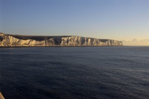 White Cliffs of Dover and sea in the early morning light.