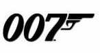 007 logo- 007 in black writing on a white background with a black gun to the right