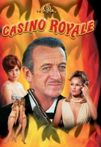 Casino-Royale Movie Poster - Bond and ladies with flame graphics