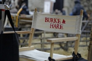 Chair on set during the filming of Burke and Hare at Knole Park. Chair reads Burke & Hare