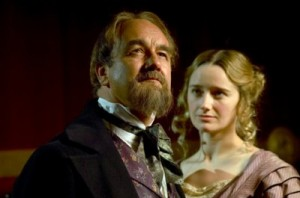 (L-R) David Haig as Dickens looking into the distance and Amy Shiels as Nelly looking at him