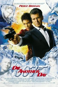 Die Another Day Movie Poster - James Bond (Pierce Brosnan) and Giacinta 'Jinx' Johnson (Halle Berry) pointing guns through a montage of images from the film. Die another day written in red