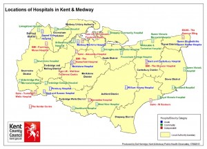 a map of kent showing the locations of hospitals