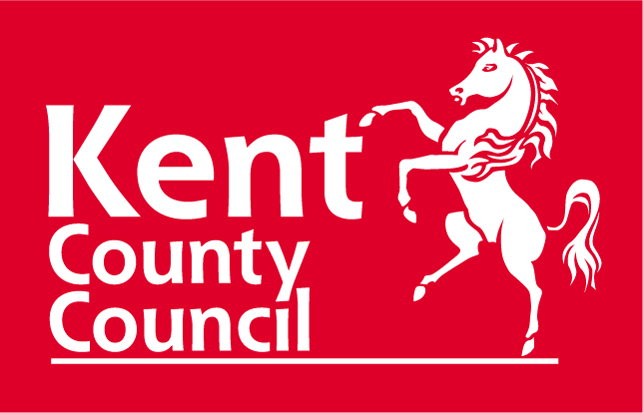 Kent County Council Logo- Kent County Council written in white on a red background with a white horse to the right. Links to the KCC website.
