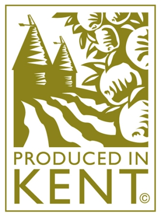 Produced in Kent Logo- Produced in Kent written in gold on a white background. cartoon image of a house, fields and fruit are in gold above. Linsk to their website.