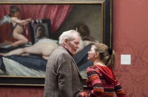 Peter OToole and Jodie Whittaker in front of a painting of Venus