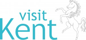 Visit Kent logo- Visit Kent written in blue on a white background. A white horse is to the right. Links to Visit Kent website.