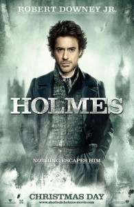 Sherlock Holmes Poster- Sherlock holmes staring at the camera with his hands in his pockets, smokey london skyline can be seen behind. HOLMES reads across the middle