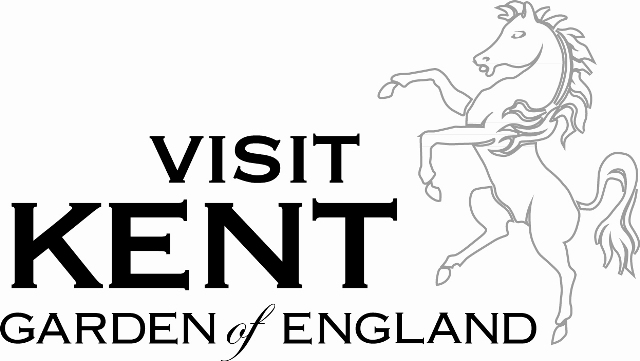 Visit Kent Logo- Visit Kent garden of England written in black on a white background. A white horse to the right. Links to their website.