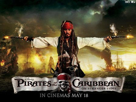 Movie poster. Johnny Depp as Jack Sparrow holding smoking guns in each hand with burning ships behind him.. Pirates of the Caribbean on stranger tides is written in a white panel in front,