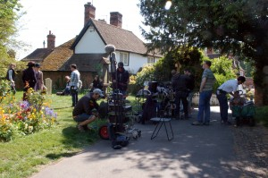 Behind the scenes of Chickens filming in Chilham- camera crew filming on a driveway next to the garden