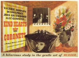 Kind Hearts and Coronets poster- two ladies wearing extravagant hats, with a man behind bars behind them. Kind Hearts and Coronets is written on a poster behind them