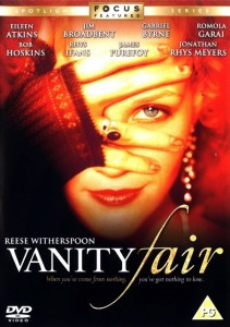 Vanity Fair Film Poster- close up of reese witherspoon's face, with her hand covering her eyes. Vanity Fair written in white underneath