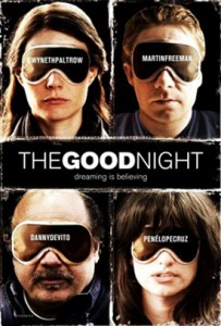 The Good Night Film Poster- Four character faces in a grid, all with sleep masks over their eyes. The Good night is written in the middle