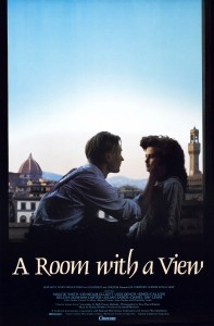 A Room with a View Movie Poster- Two characters on a balcony facing each other with rooftops behind them