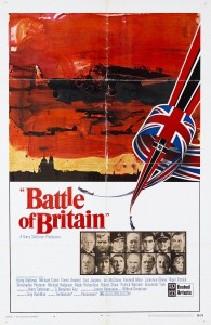 Battle of Britain movie poster- montage of characters from the film in square boxes, Battle of Britain written in red on top with a sun set scene of a town skyline above