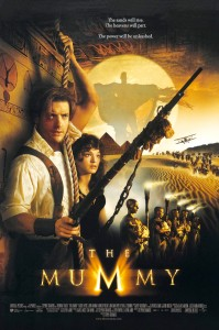 The Mummy Movie Poster - Brendan Fraser with a weapon standing next to Rachel Weisz - pyramids and mummies