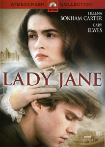 Lady Jane Movieposter- close up of Lady Jane with her hand on a man hair. Lady Jane written in red on top.