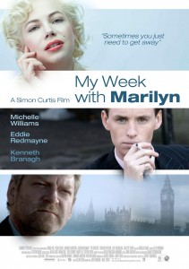 My Week with Marilyn Movie poster with Michelle Williams, Eddie Redmayne, & Kenneth Brannagh. A london skyline can be seen in the background, My week with Marilyn is written in blue