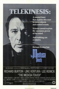 The Medusa Touch Movie Poster- image of a man's face in black and white facing the camera. Telekinesis written in white with The Medusa Touch written in purple
