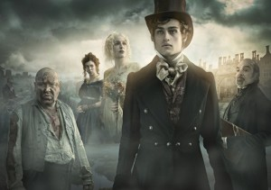Douglas Booth, Ray Winstone, Gillian Anderson, David Suchet and Vanessa Kirby staring into the camera in front of a misty sky and house