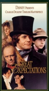 Great Expectations Movieposter 1989- Montage of characters from the film overlapping. Great Expectations written in yellow over the top