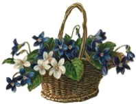 wicker basket of blue and white flowers.