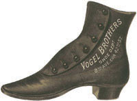 Old fashioned brown leather boot with the words Yogel Brothers written on in white down the side