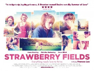 Strawberry Fields Film Poster- Strawberry Fields written in pink with a montage of images of the cast members and clips from the film