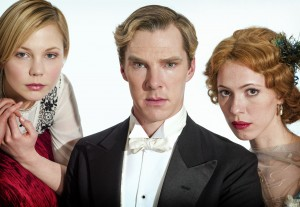 Parade's End L-R Valentine Wannop (Adelaide Clemens), Christopher Tietjens (Benedict Cumberbatch) Sylvia Tietjens (Rebecca Hall) stood in a row looking into the camera